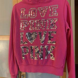 Victoria Secret Love Love Pink Bling Hoodie